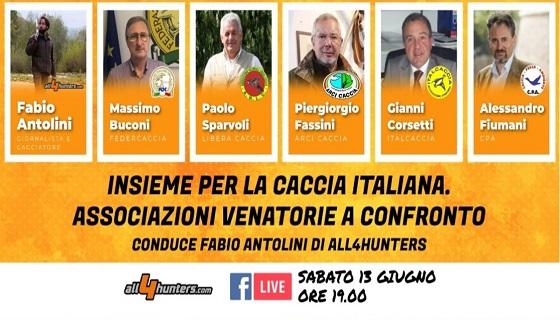 Insieme per la caccia italiana: appuntamento in diretta con le Associazioni Venatorie a confronto